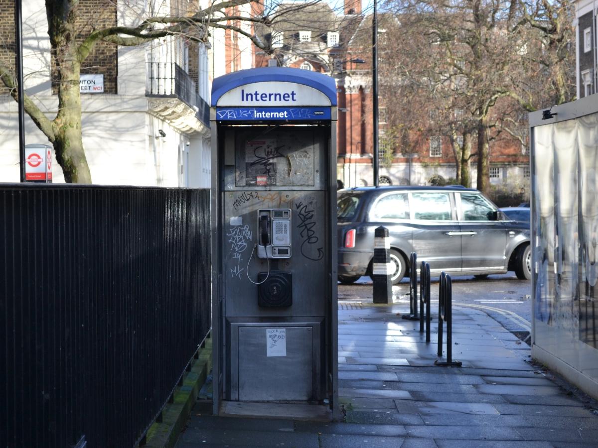 Vandalised Telephone Box, Tavistock Square, Bloomsbury