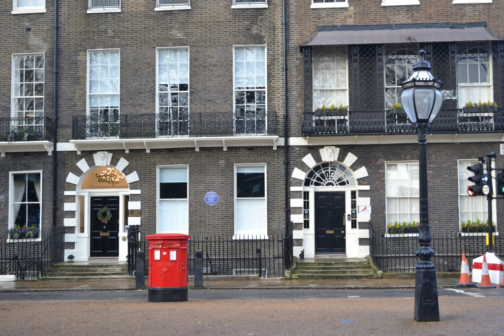 Bedford Square: The terraces, postbox and lamppost are all heritage assets.