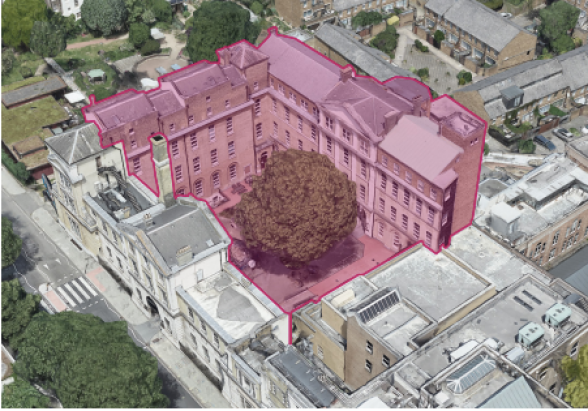 The demolition plan for the former Royal Free Hospital, Bloomsbury