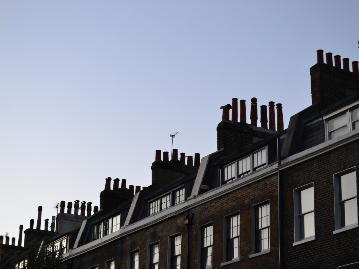 Beautiful Georgian chimneys at sunset, on Doughty Street, Bloomsbury