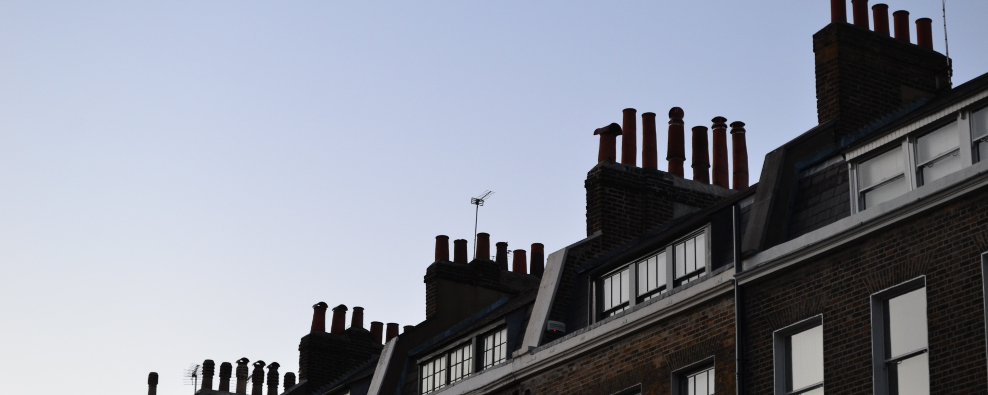 Beautiful Georgian chimneys at sunset, on Doughty Street, Bloomsbury