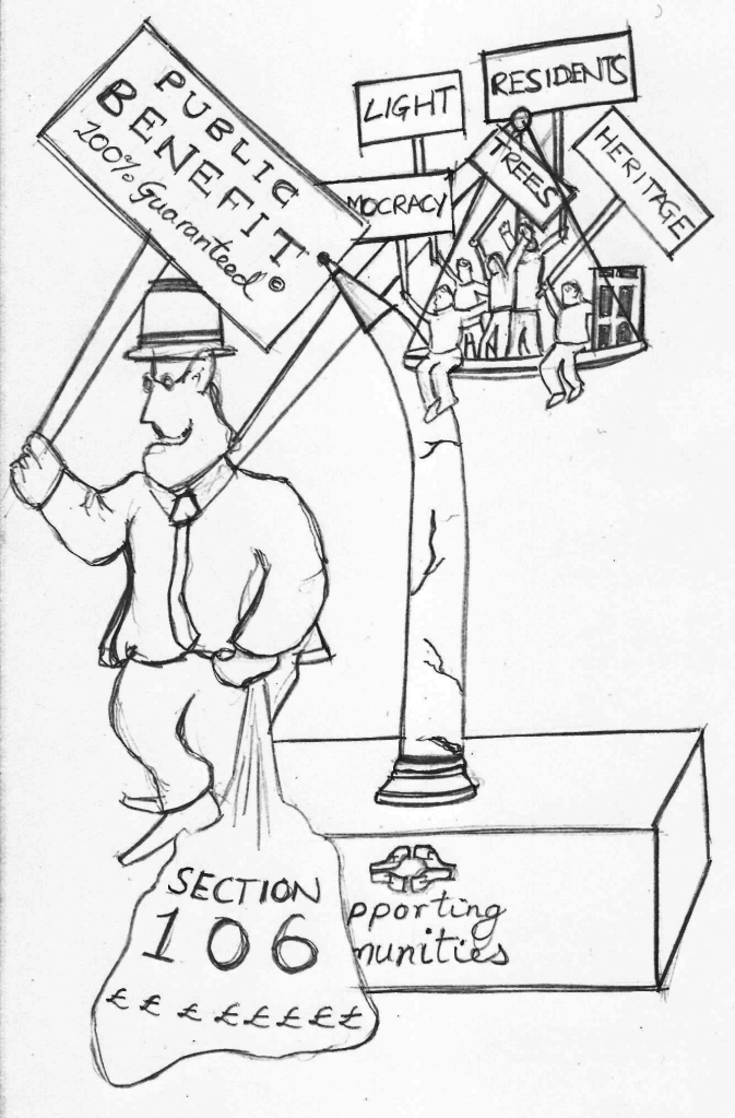 Camden and Section 106 political cartoon