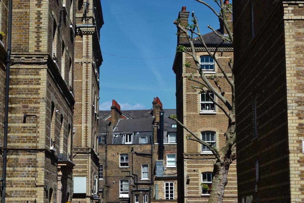 Peabody Estate and Georgian terraces, in Bloomsbury, London