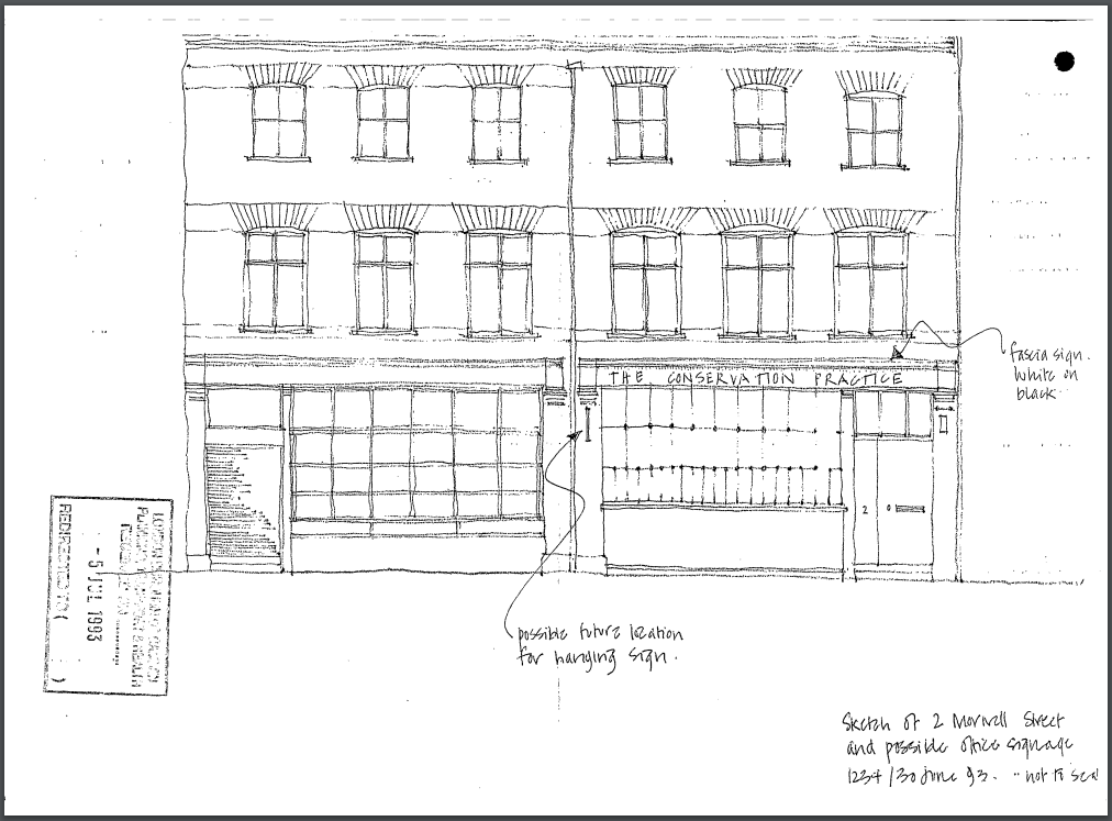 A sketch of 2-3 Morwell Street, including the shopfronts