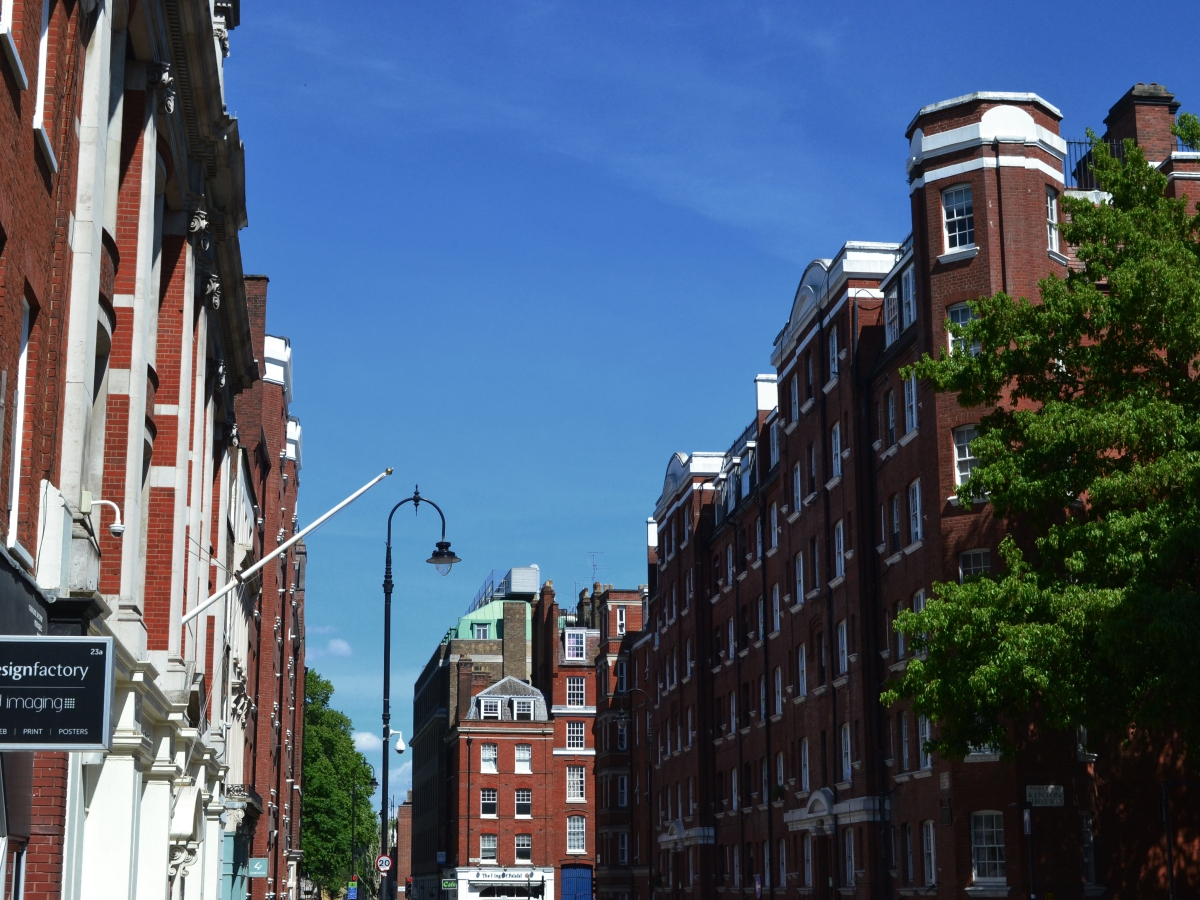 A view of Tavistock Place on a beautiful summer's day, Bloomsbury