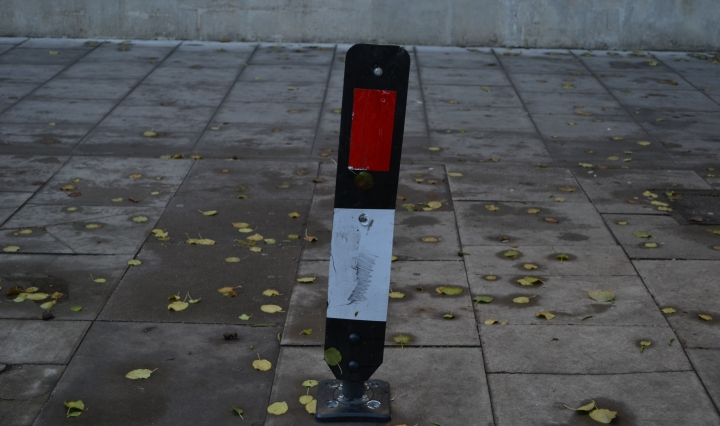 An abandoned broken piece of highways equipment, by the Brunswick Centre in Bloomsbury