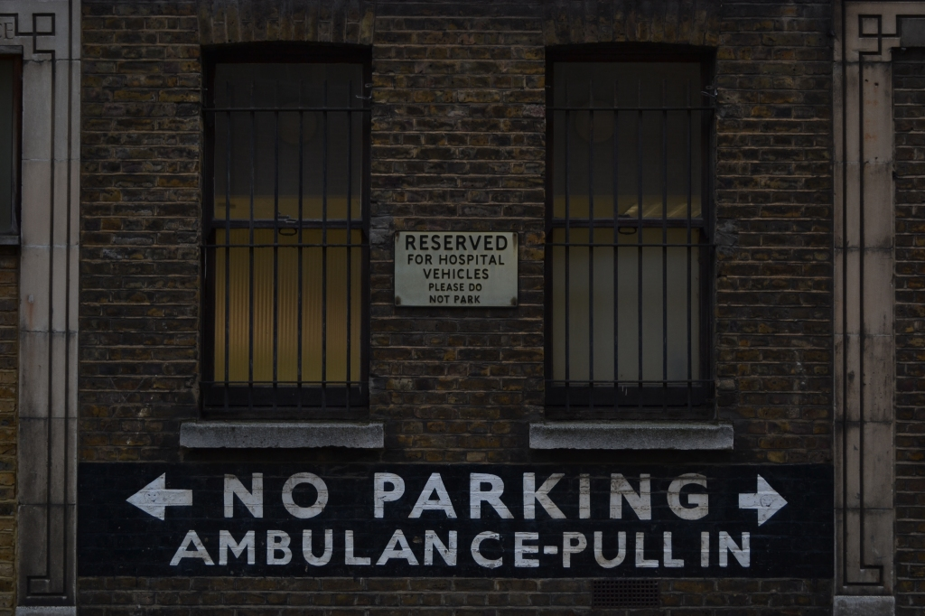 Old signs on the Royal Nose Throat and Ear Hospital, Wicklow Street, King's Cross