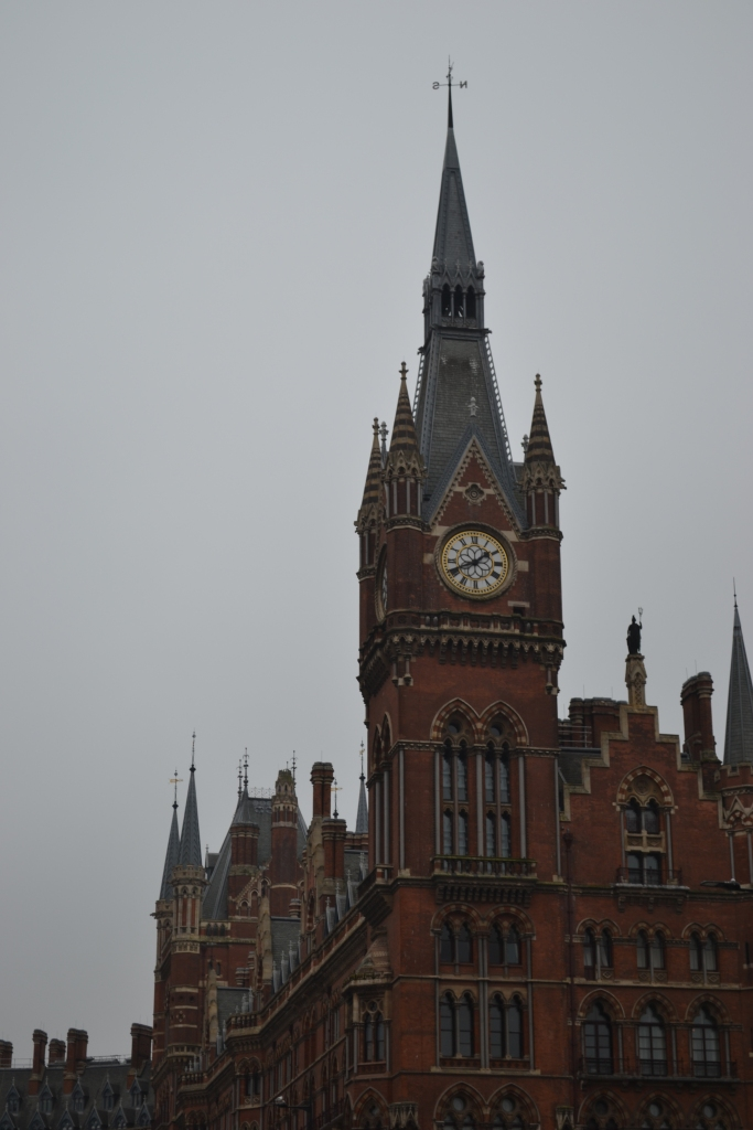 St Pancras Railway Station London on a grey, misty day, from Euston Road, King's Cross
