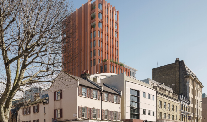 The proposed orange hotel at 330 Gray's Inn Road, King's Cross, London