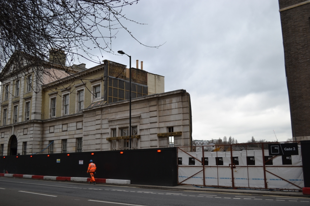 Reduced facade of the former Royal Free Hospital