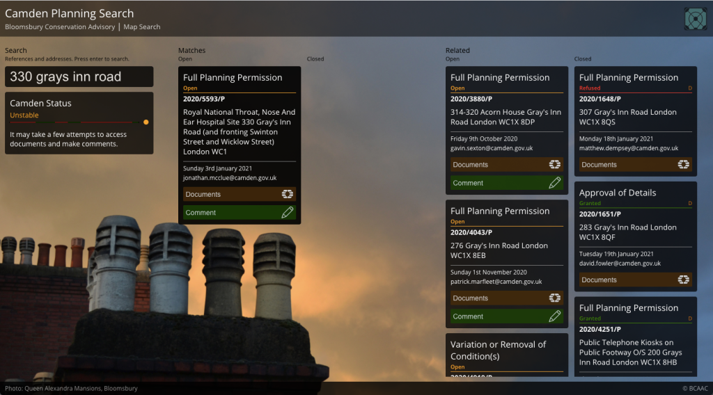 Screenshot of the new planning search